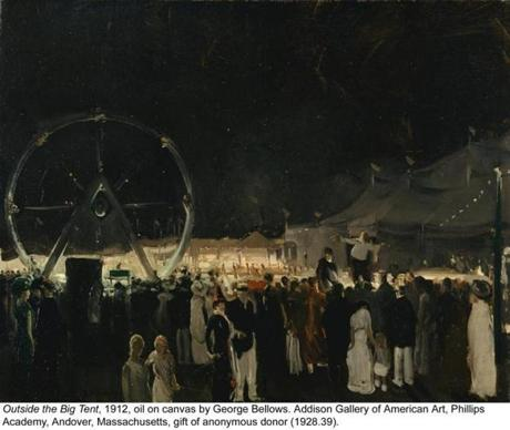 "George Bellows's ""Outside the Big Tent"" from 1912."